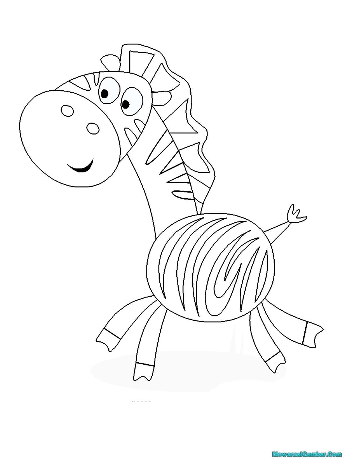 Buku Mewarnai 20 Gambar Zebra | Mewarnai Gambar