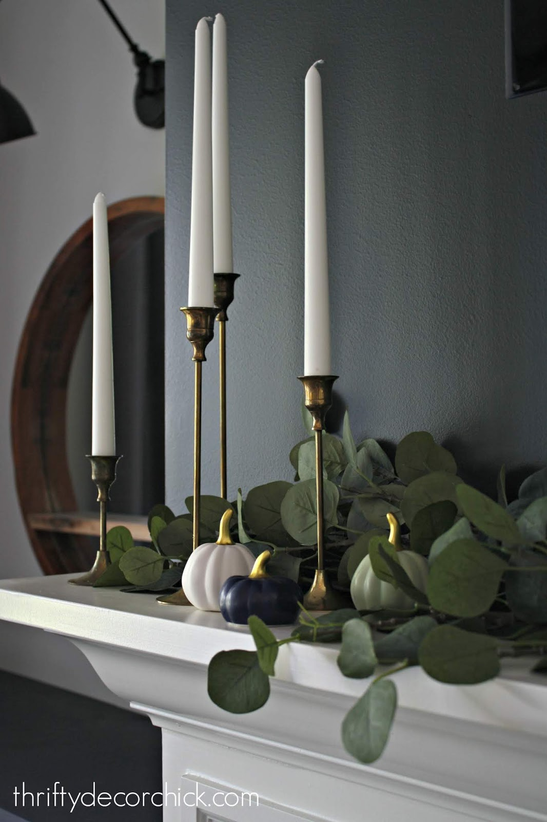 Moody fall mantel with nontraditional colors