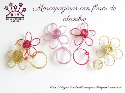 Marcapaginas DIY con flores de alambre