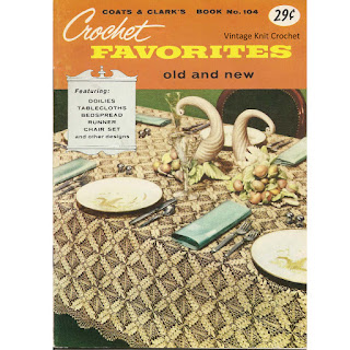 Crochet Tablecloth Bedspread pattern book 104 from Coats Clarks