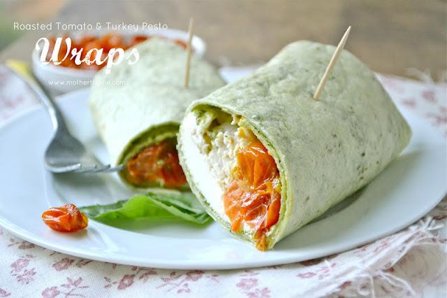 Roasted Tomato and Turkey Pesto Wraps | www.motherthyme.com