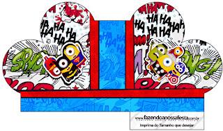 Caja abierta en forma de corazón de Minions Super Héroes.