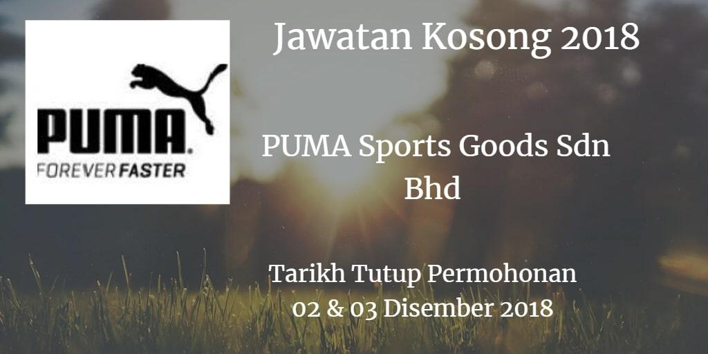 Jawatan Kosong PUMA Sports Goods Sdn Bhd 02 & 03 Disember 2018