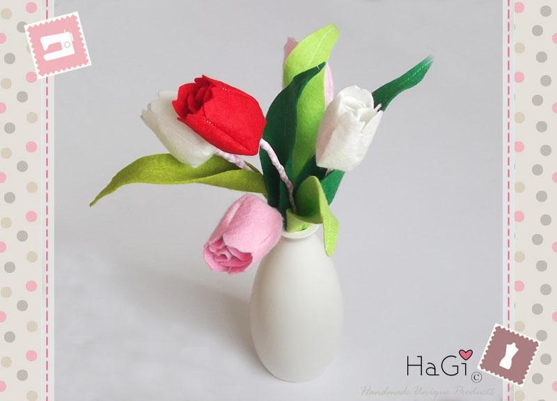 hagi by herzig genaehtes tulpen aus filz handgefertigte fr hlingsdeko. Black Bedroom Furniture Sets. Home Design Ideas