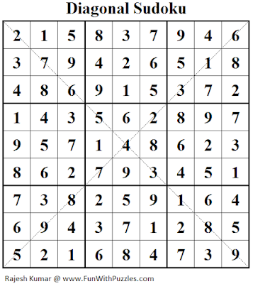 Answer of Diagonal Sudoku (Fun With Sudoku #122)