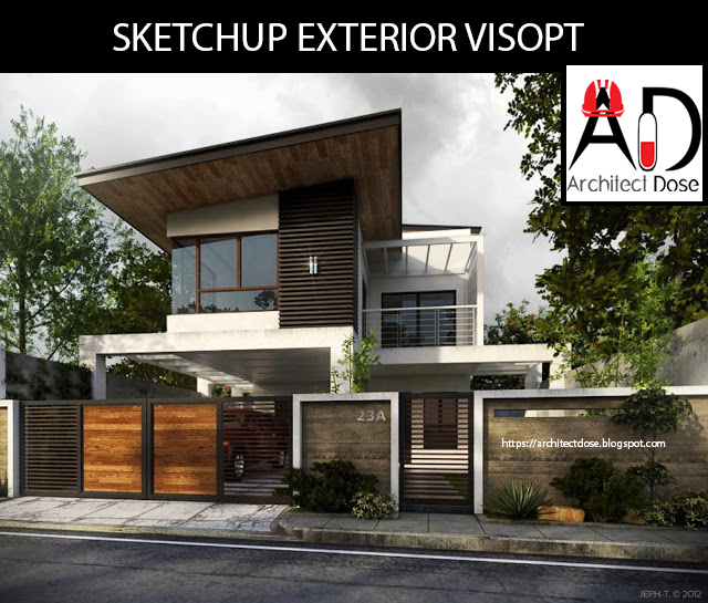 Architect dose architecture sketchup tutorials models for Setting render vray sketchup exterior