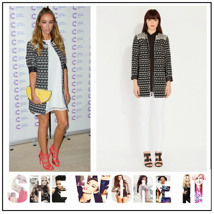 The Only Way is Essex, Lauren Pope, Oasis Fashion, Black, White, Geometric, Jacquard, Printed, Midi Coat, TOWIE,