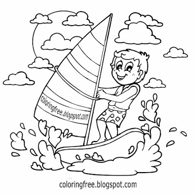 Victoria best surf kids water sports windsurfing sea activities Australia drawing pictures to colour