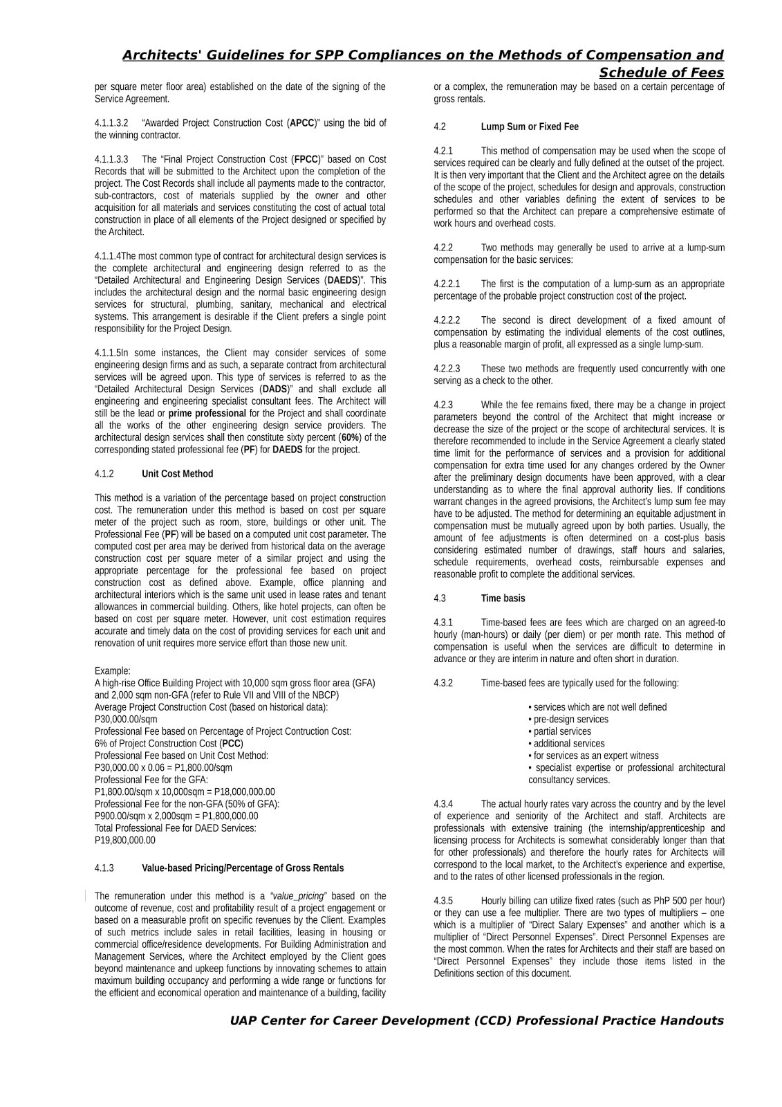 Architects' Guidelines Methods Of Compensation And