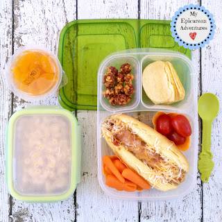 Lunch box fun with a hot dog and mac and cheese in our @easylunchboxes