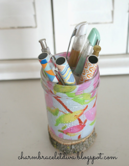 floral glass pen pencil holder