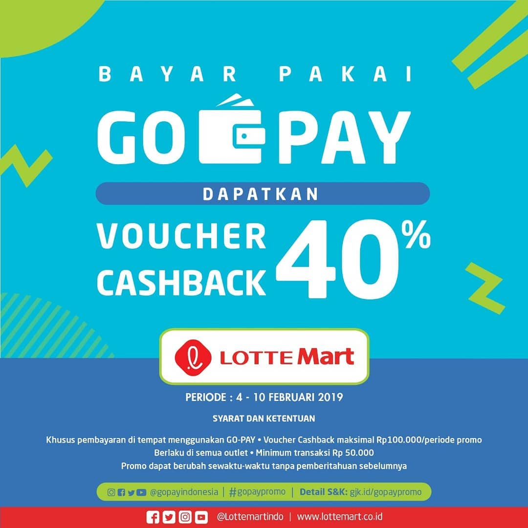 #LotteMart - #Promo #Voucher Cashback 40% Bayar Pakai #GOPAY (4 - 10 Feb 2019)