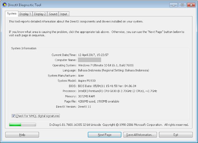 Cara Cek Spesifikasi Komputer Dengan DxDiag