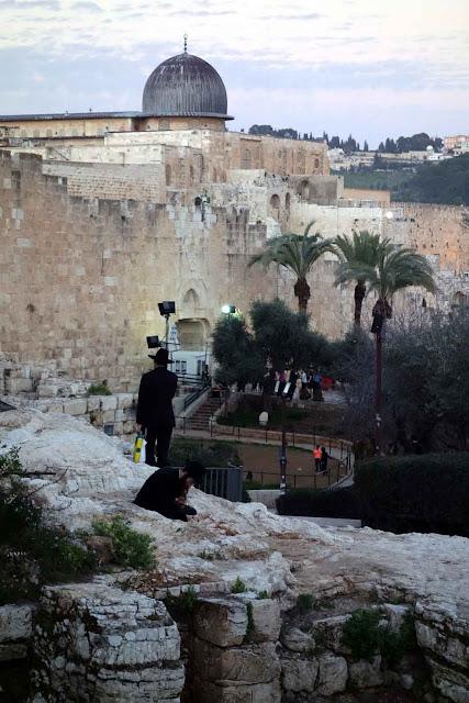 Vue des remparts de Jérusalem près de Porte des Maghrébins