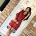 outfit: Brick red floral dress