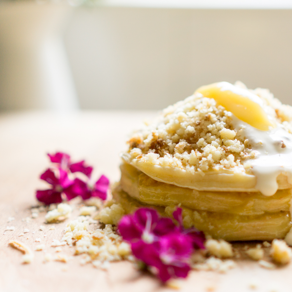Breakfast - Leftover coconut crumble pancakes with cream and lemon curd | in happenstance