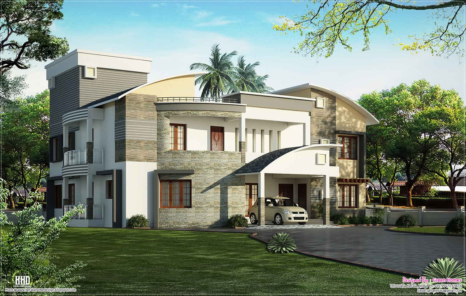 Modern luxury villa design kerala home design and floor for Kerala new home pictures