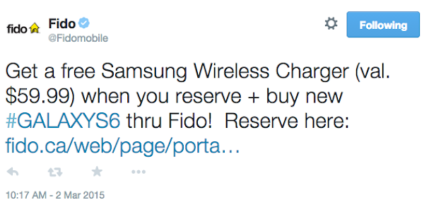 Free Samsung wireless charging pad from Fido