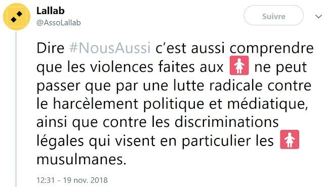 """Sous la bannière de """"Nous aussi"""", des associations comme Lallab ont tout fait pour instrumentaliser et diviser la manifestation du 24 novembre 2018."""