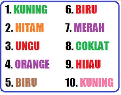 tes menguji kombinasi warna dengan huruf