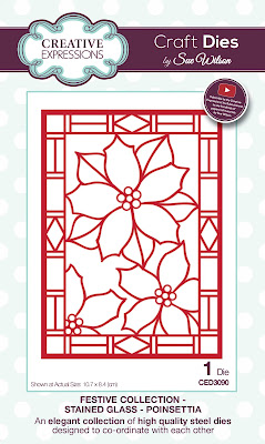 Festive Collection Stained Glass Poinsettia Die - CED3090