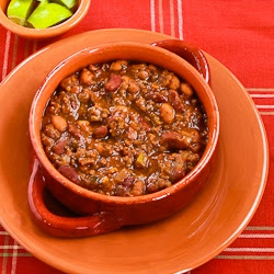 Slow Cooker Ground Beef and Refried Bean Chili with Salsa and Lime found on KalynsKitchen.com
