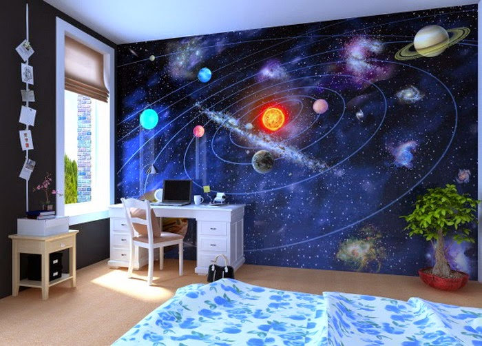 Planet And Astronaut In Outer Space Themed Childu0027s Bedroom Interior