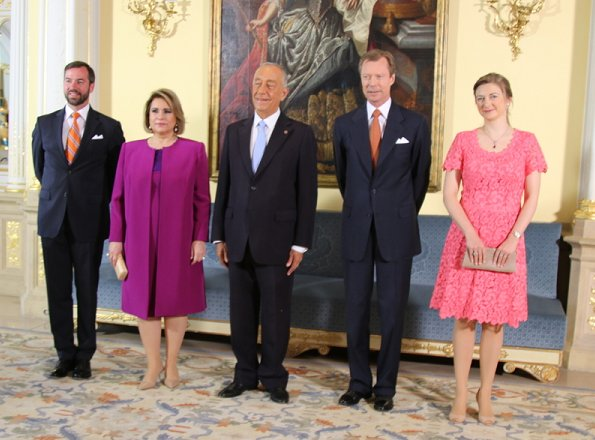 Duke Henri, Duchess Maria Teresa, Prince Guillaume and Princess Stephanie welcomed President Marcelo Rebelo de Sousa at Grand Ducal Palace