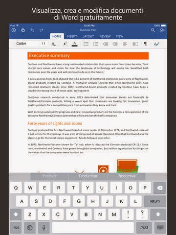 Microsoft Word gratis per iPad, iPhone e iPod Touch vers  1.11