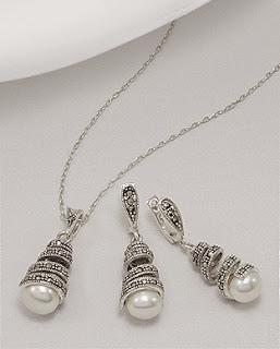 set bijuterii din argint cu perla
