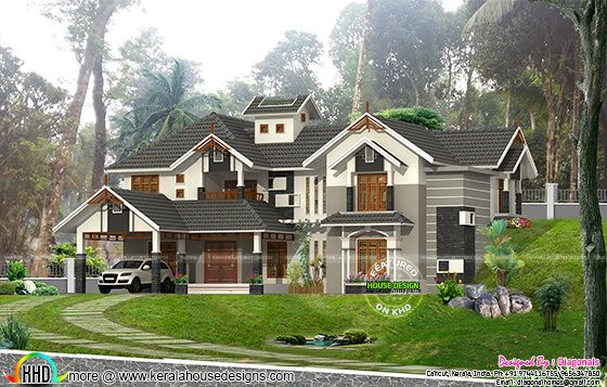 2740 square feet sloping roof Kerala home