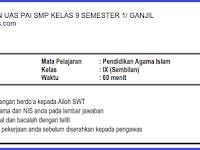 Soal UAS PAI SMP/ MTs Kelas 9 Semester 1/ Ganjil