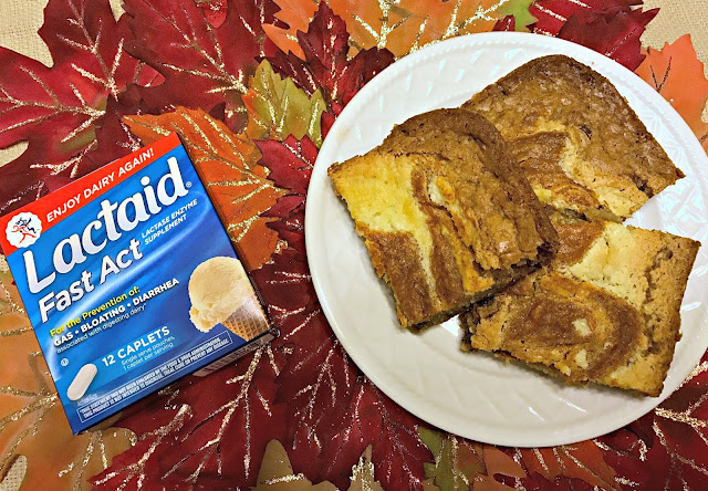 Pumpkin Cheesecake Chocolate Chip Blondies, Pumpkin Cheesecake blondies,Digestive health relief, Imodium coupons, Pepcid coupons, Lactaid coupons, Digestive Health Coupons