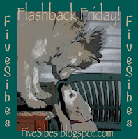 Flashback Friday blog hop badge with faint photo of Siberian huskies