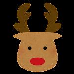 クリスマスの顔マーク(トナカイ)