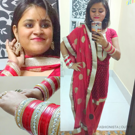 OOTD | Navratri Special | Red Salwar Suit | Golden Adornments