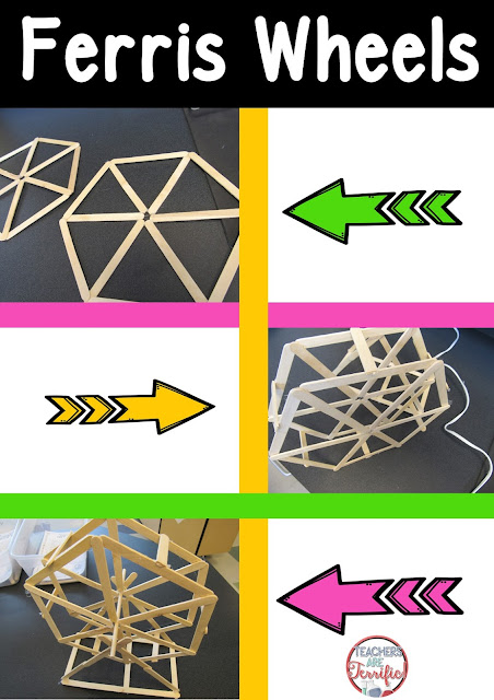 STEM Challenge: Build a Ferris wheel! Kids had to work through making a hexagonal shape and then joining the two sides together. It was also really important that the two sides were symmetrical and joined properly.