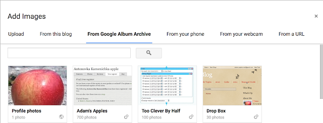 "The top row of ""From Google Album Archive,"" showing four albums"