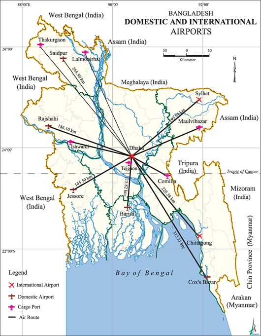 Airports Map Bangladesh