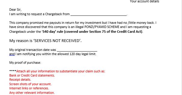 writing a credit card company
