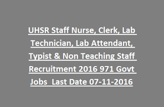 UHSR Staff Nurse, Clerk, Lab Technician, Lab Attendant, Typist & Non Teaching Staff Recruitment 2016 971 Govt Jobs Online Last Date 07-11-2016