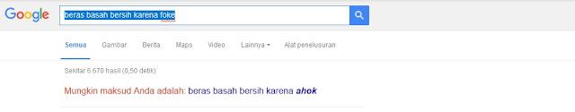 Buka Google dan Ketik 'Beras Basah Bersih karena Foke', Apa Hasilnya?