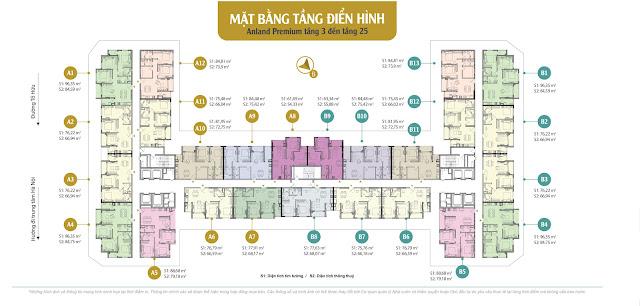 Mặt bằng tầng căn hộ điển hình từ tầng 3 đến 25