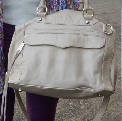 purple skinny jeans, Rebecca Minkoff MAB mini in soft grey | awayfromtheblue