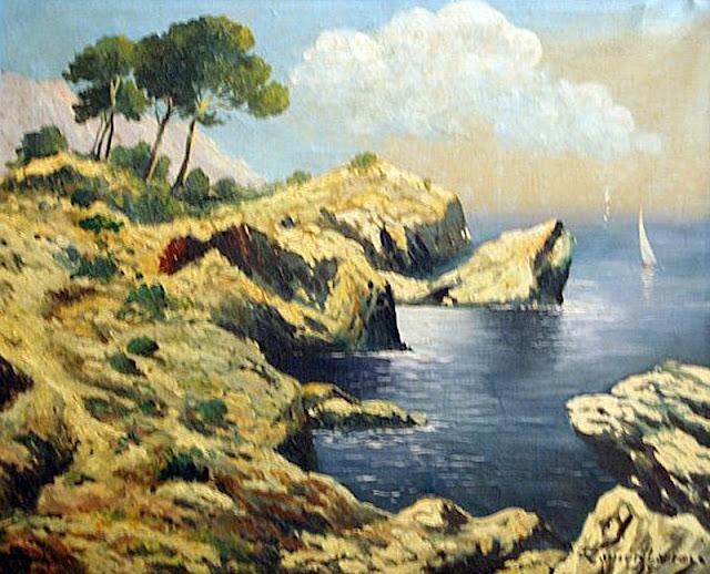 Ramón Larrosa Claramunt, Acantilados de Mallorca, Mallorca en Pintura, Mallorca pintada, Paisajes de Mallorca