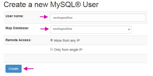 Create Database Name And Username Sentora WP Sentastico