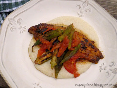 Roasted Okra & Tomato Topped Blackened Catfish