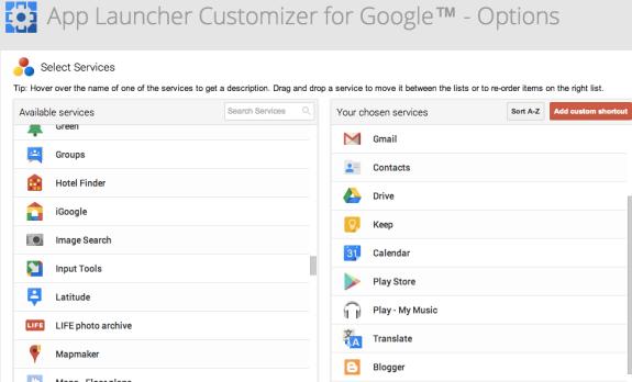 Customize Google's App Launcher