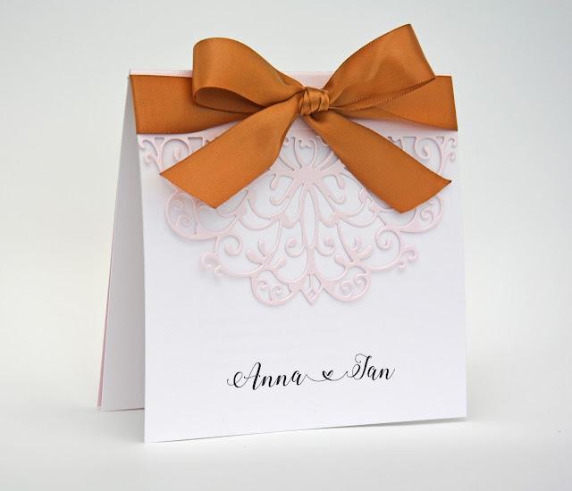 Pink & Brown – Ażurowe Zaproszenie Ślubne