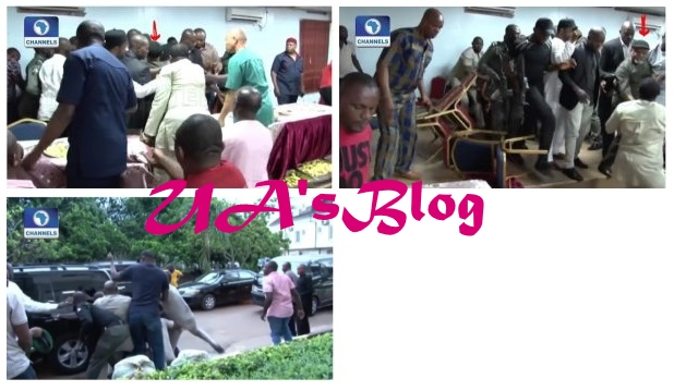See The Moment Chris Ngige Escaped Mob Attack During APC Congress In Awka (Photos)